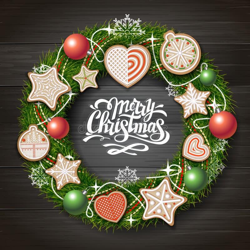 Vue supérieure de conception de l'avant-projet de Joyeux Noël Guirlande de Noël avec des biscuits sur le fond en bois illustration stock