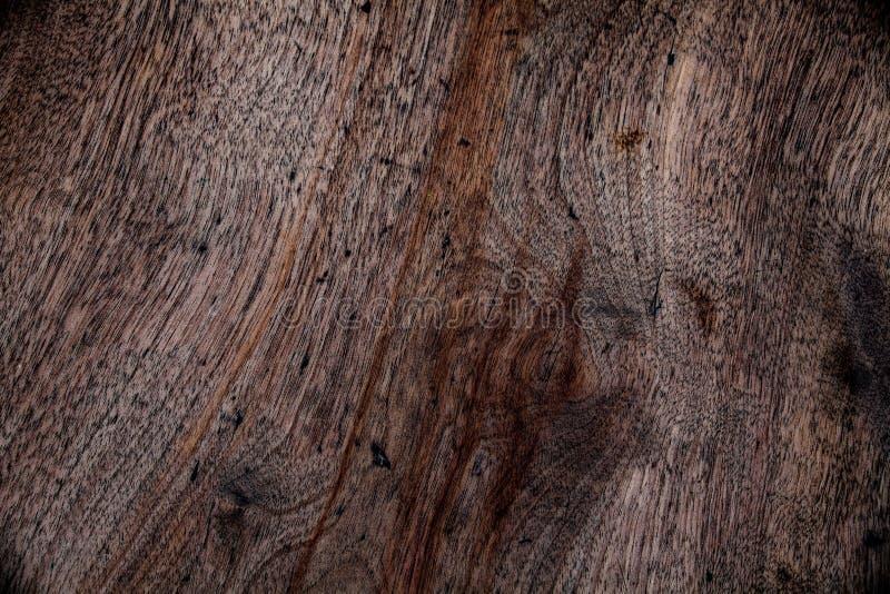 Vue supérieure de conseil en bois peint dans le brun Concept en bois de fond Surface en bois de brun foncé Détails abstraits de f photographie stock libre de droits