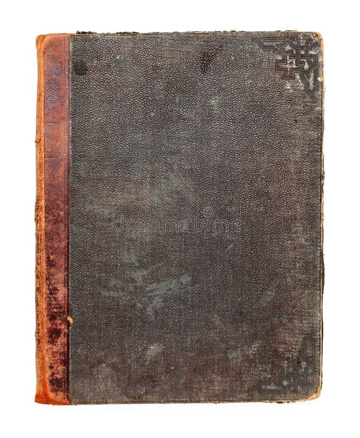 Vue supérieure de couverture vide d'un vieux livre fait de cuir pressé photo stock