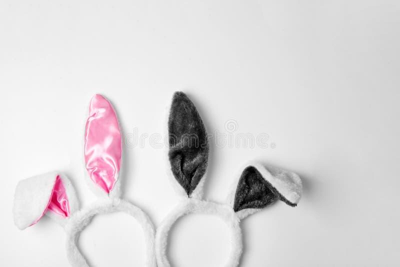 Vue supérieure de deux oreilles de lapin sur l'espace blanc de copie de rose de fond et de concept de Pâques de vacances d'amour  photo libre de droits