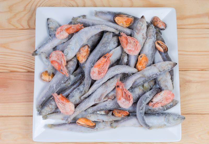 Vue supérieure de divers fruits de mer surgelés sur le plat blanc carré photos stock
