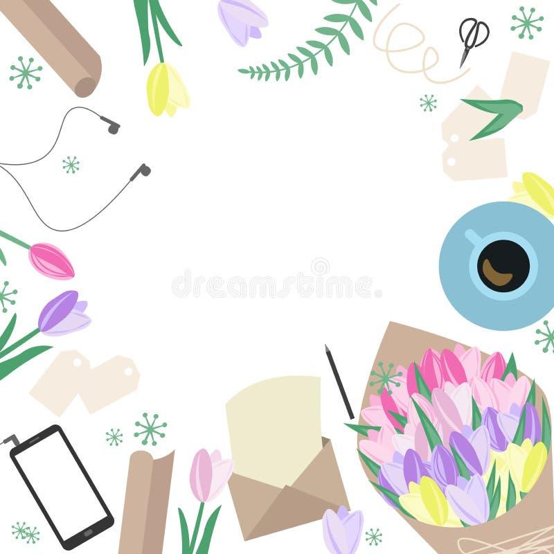 Vue supérieure de faire le bouquet ou les invitations Fla d'espace de travail de fleuriste illustration libre de droits