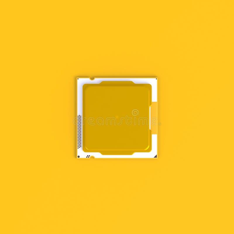 Vue supérieure de fond jaune minimal d'abrégé sur puce d'unité centrale de traitement d'unité centrale de traitement, concept de  illustration stock