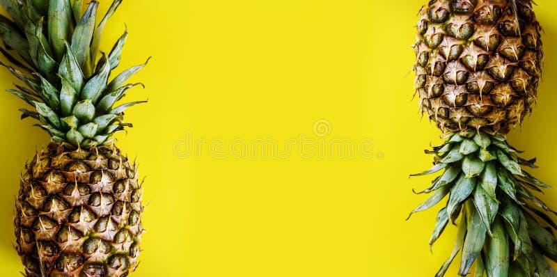 Vue supérieure de frontière d'ananas sur le fond jaune lumineux Disposition en pastel vive avec le cadre d'ananas d'en haut image libre de droits