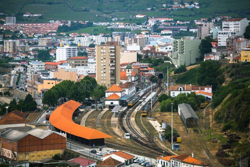 Vue supérieure de gare ferroviaire du peso DA Regua photo stock