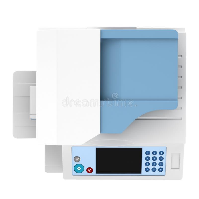 Vue supérieure de l'imprimante multifonctionnelle de bureau moderne d'isolement illustration stock
