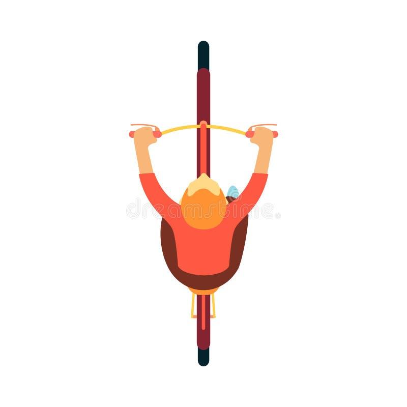 Vue supérieure de la bicyclette d'équitation de l'homme, tir aérien du cycliste masculin de personnage de dessin animé avec les c illustration libre de droits