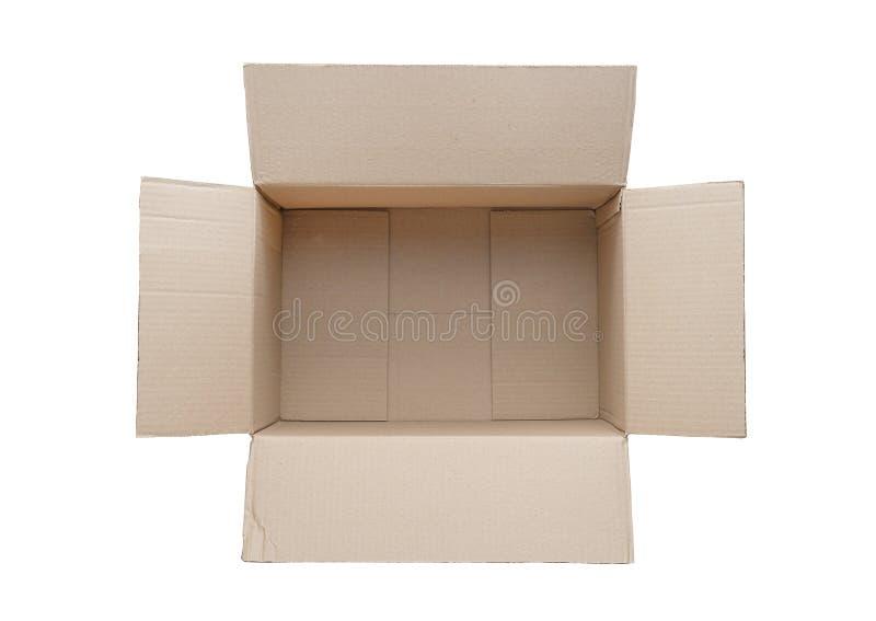 Vue supérieure de la boîte en carton vide d'isolement sur le fond blanc image libre de droits