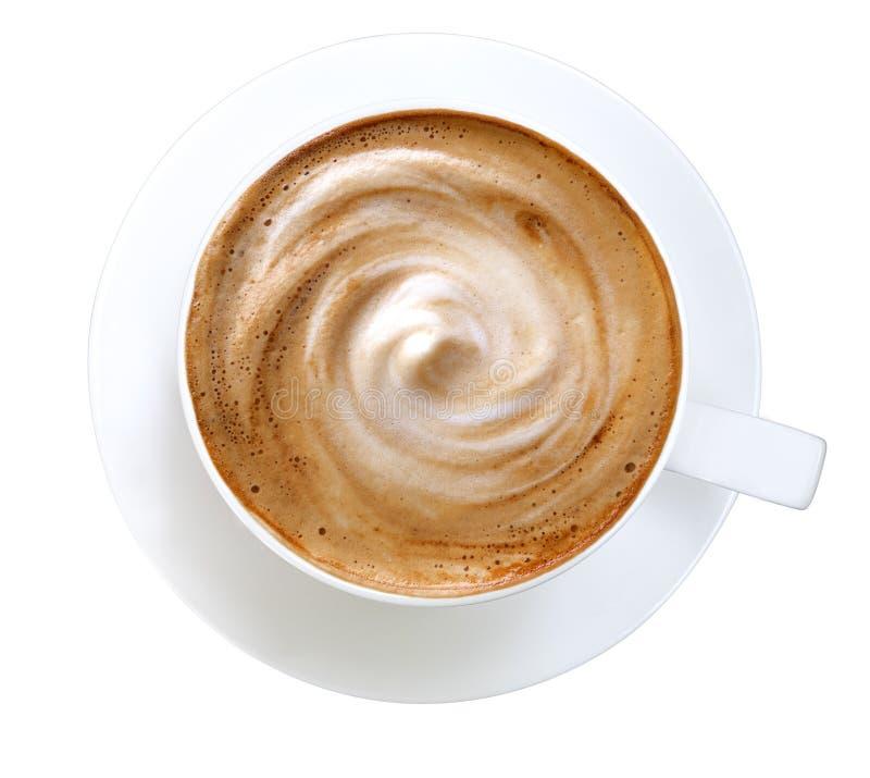 Vue supérieure de la mousse chaude de spirale de cappuccino de café d'isolement sur le blanc image libre de droits