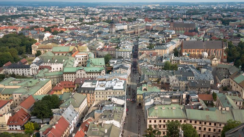 Vue supérieure de la place principale de Cracovie, Pologne photos stock