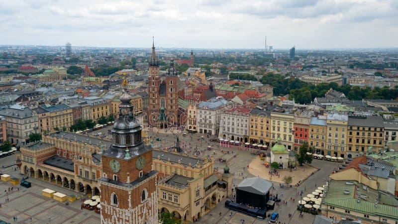 Vue supérieure de la place principale de Cracovie, Pologne image libre de droits