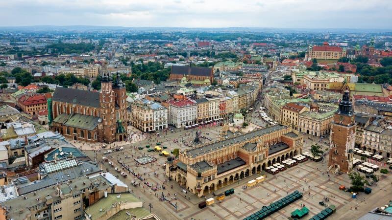 Vue supérieure de la place principale de Cracovie, Pologne image stock