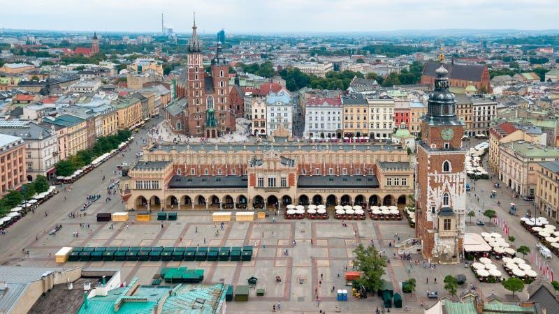Vue supérieure de la place principale de Cracovie, Pologne images stock