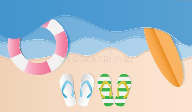 Vue supérieure de la plage avec des sandales, planche de surf, tube de bain Fond d'été, style de papier d'art Illustration de vec illustration de vecteur