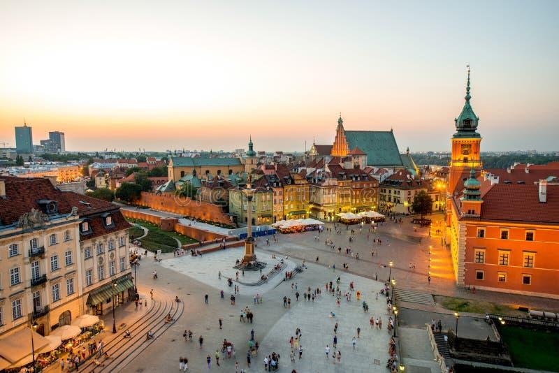 Vue supérieure de la vieille ville à Varsovie image stock