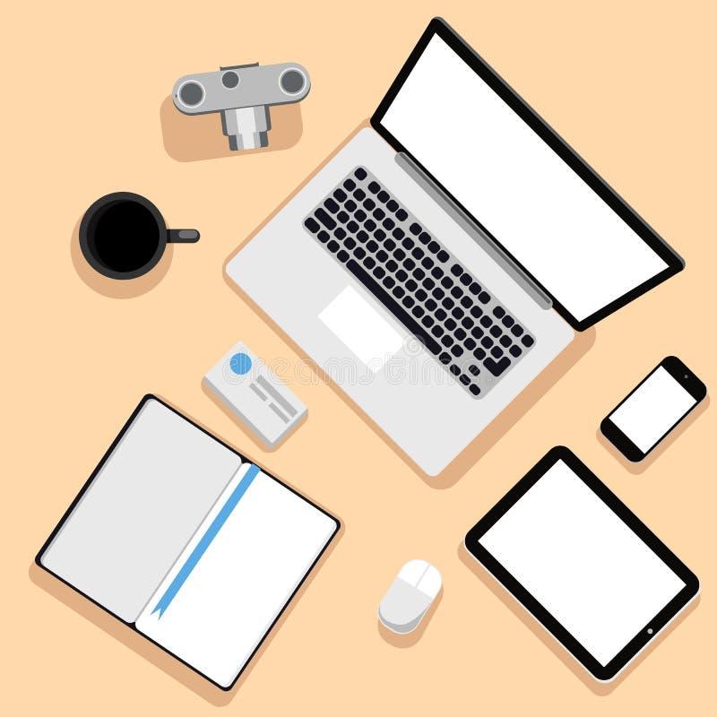 Vue supérieure de lieu de travail avec l'ordinateur portable et les dispositifs illustration stock