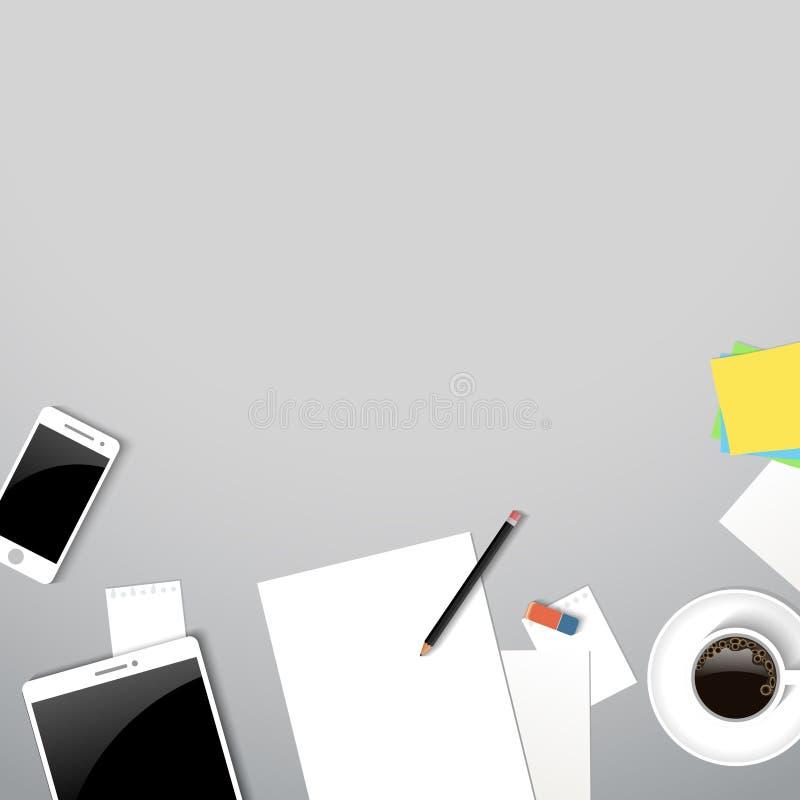 Vue supérieure de lieu de travail d'affaires Table de bureau avec du café, document, comprimé, smartphone illustration de vecteur
