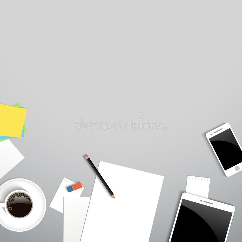 Vue supérieure de lieu de travail d'affaires Table de bureau avec du café, document, comprimé, smartphone illustration stock
