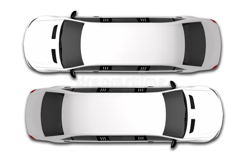 Vue supérieure de limousine blanche illustration libre de droits
