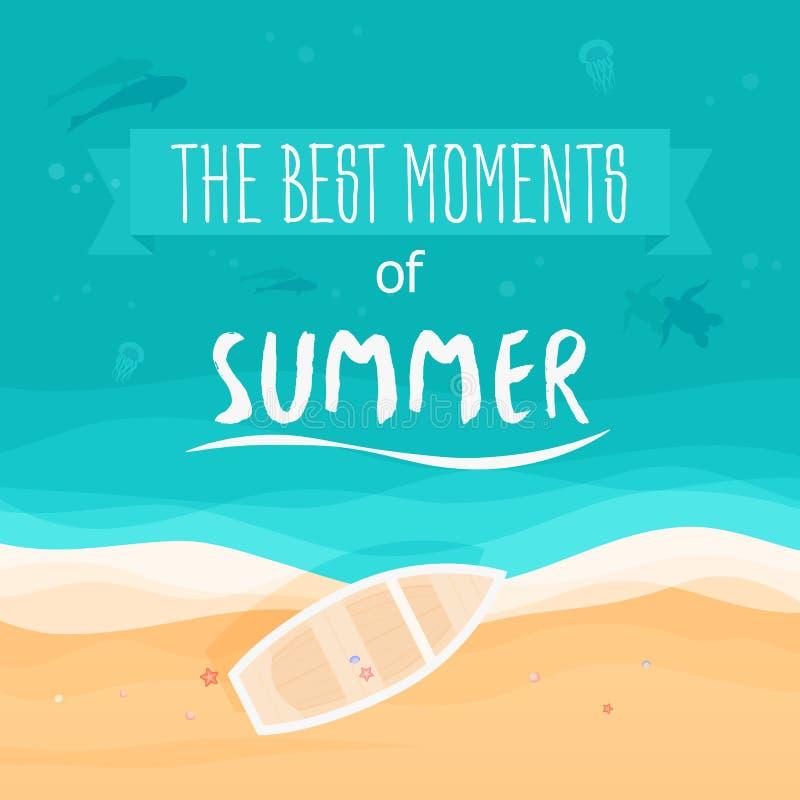 Vue supérieure de mer, bateau, plage avec le sable Vue supérieure Les meilleurs moments de l'été Illustration de vecteur illustration libre de droits