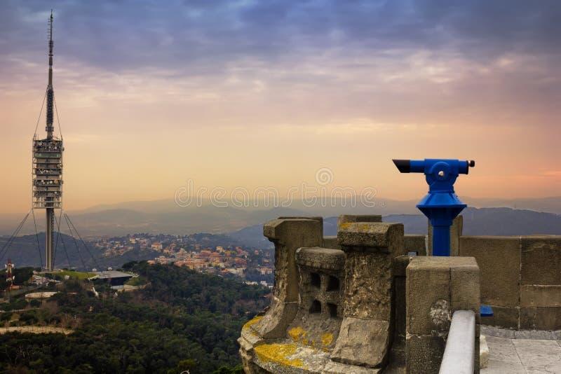 Vue supérieure de montagne de Tibidabo, Barcelone photos libres de droits