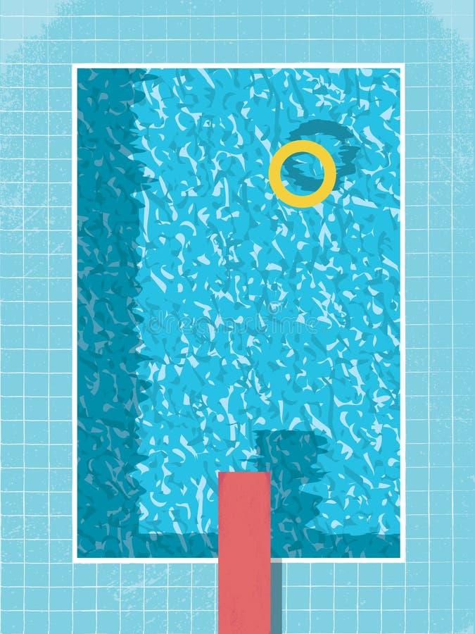 Vue supérieure de piscine avec le conservateur gonflable d'anneau et le saut rouge conception graphique de vintage du style 80s s illustration libre de droits