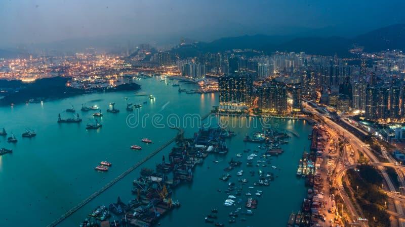 Vue supérieure de port en Hong Kong photo stock