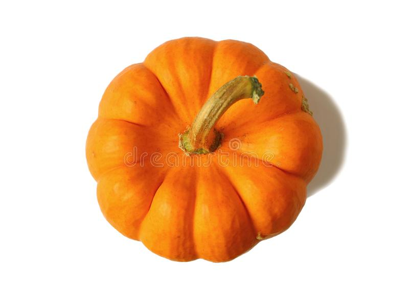 Vue supérieure de potiron orange de couleur de tige d'isolement sur le fond blanc photographie stock