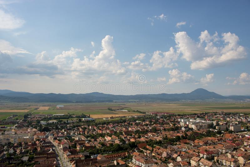 Vue supérieure de Rasnov en Roumanie photo stock