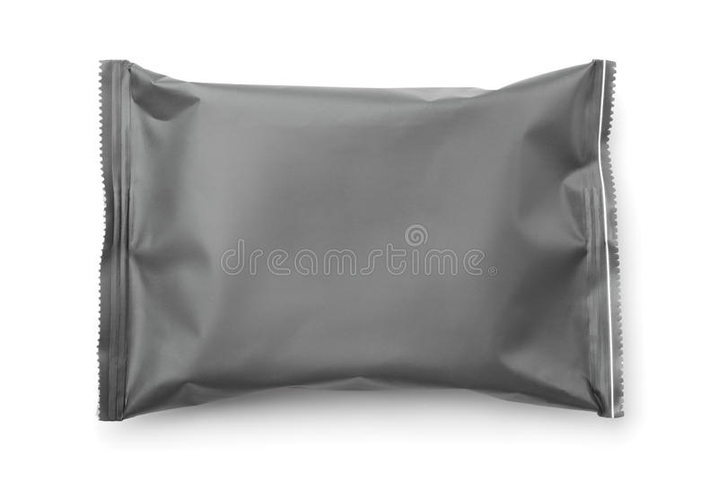 Vue supérieure de sac en plastique gris vide de nourriture images stock