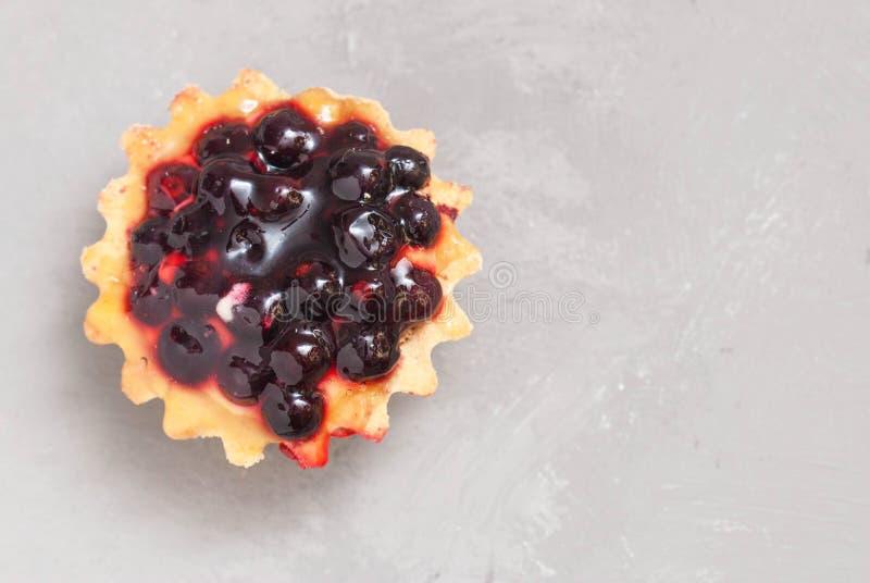 Vue supérieure de tartelette avec du fromage de crème et les baies fraîches d'isolement Macro Pâtisserie de dessert image libre de droits