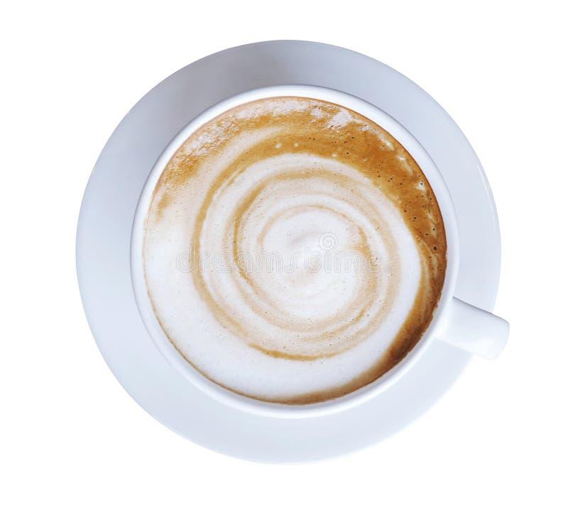 Vue supérieure de tasse chaude de cappuccino de latte de café avec la FOA en spirale de lait photo libre de droits
