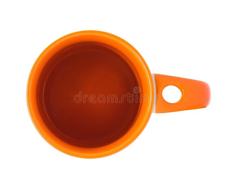 Vue supérieure de tasse orange d'isolement sur le fond blanc Tasse vide de boissons pour votre conception Objet de chemins de cou illustration stock