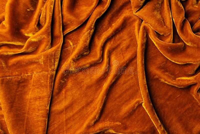 vue supérieure de textile orange de velours image stock