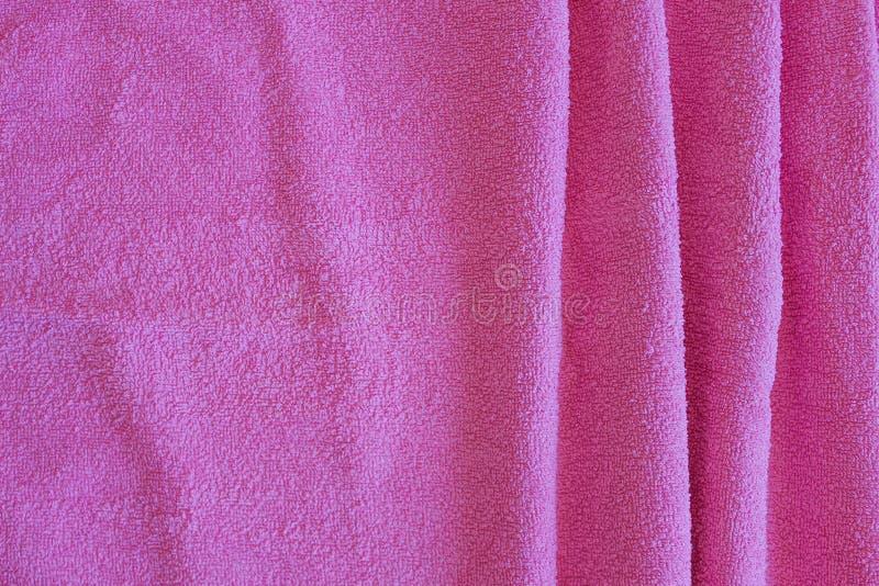 Vue supérieure de texture rose de serviette Fond rose de texture de tissu de serviette Plan rapproché Fond naturel rose de servie photo stock