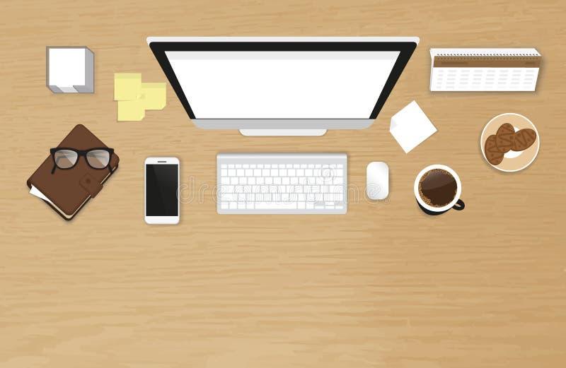 Vue supérieure de travail d'organisation réaliste de bureau avec la table texturisée illustration stock