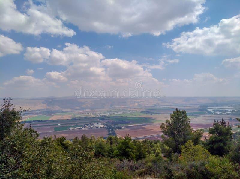 Vue supérieure de vallée de danse polynésienne et de Golan Heights, photo de voyage d'Israel Summer image stock
