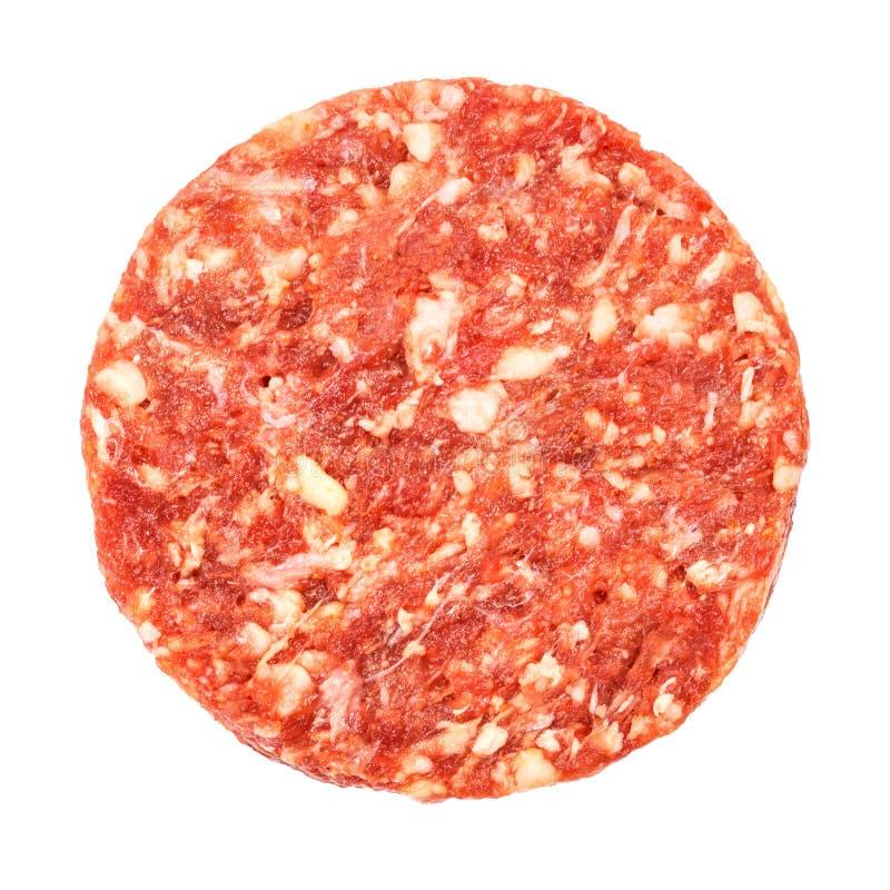 Vue supérieure de viande d'hamburger de boeuf photo libre de droits