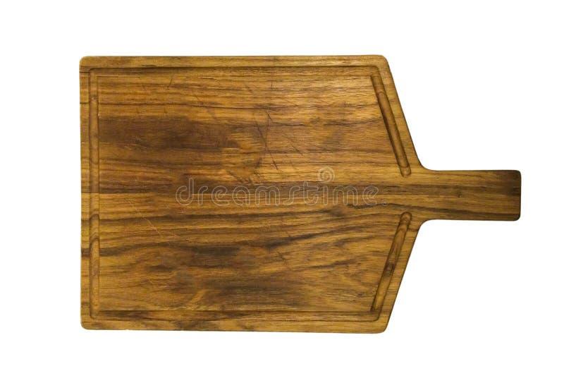 Vue supérieure de vieille planche à découper en bois utilisée vide de Brown avec l'espace de copie à railler ou pour exposer le p photos libres de droits