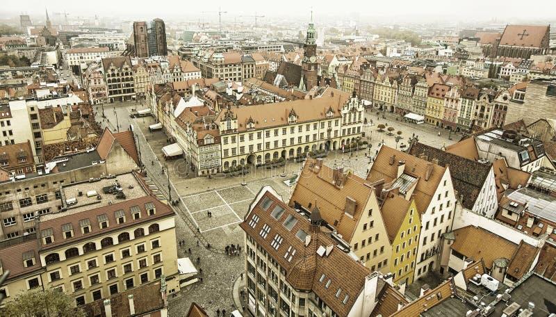 Vue supérieure de vieille ville de Wroclaw image stock