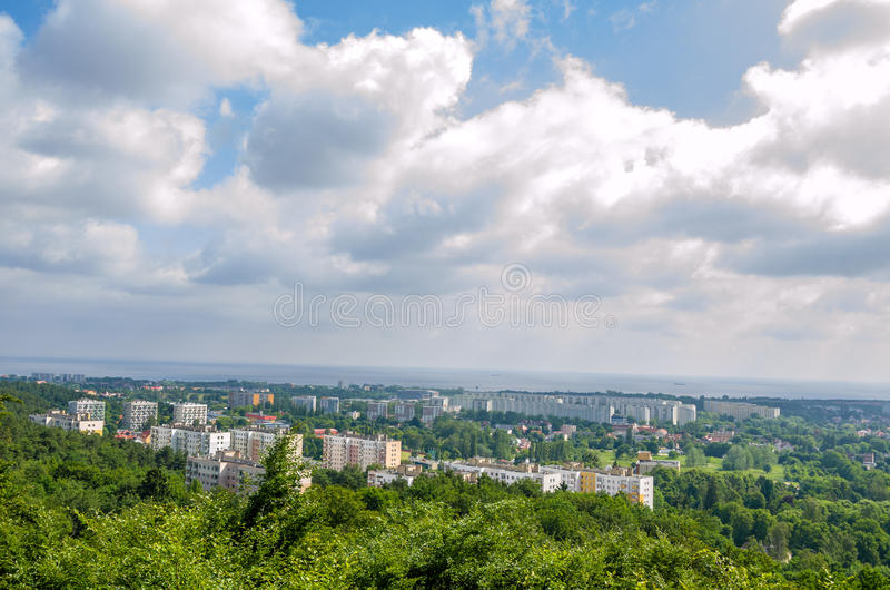 Vue supérieure de ville de Danzig de la Pologne image stock