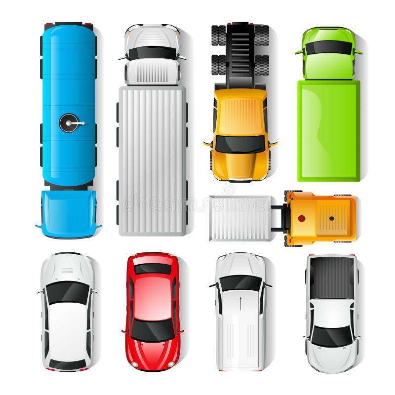 Vue supérieure de voitures