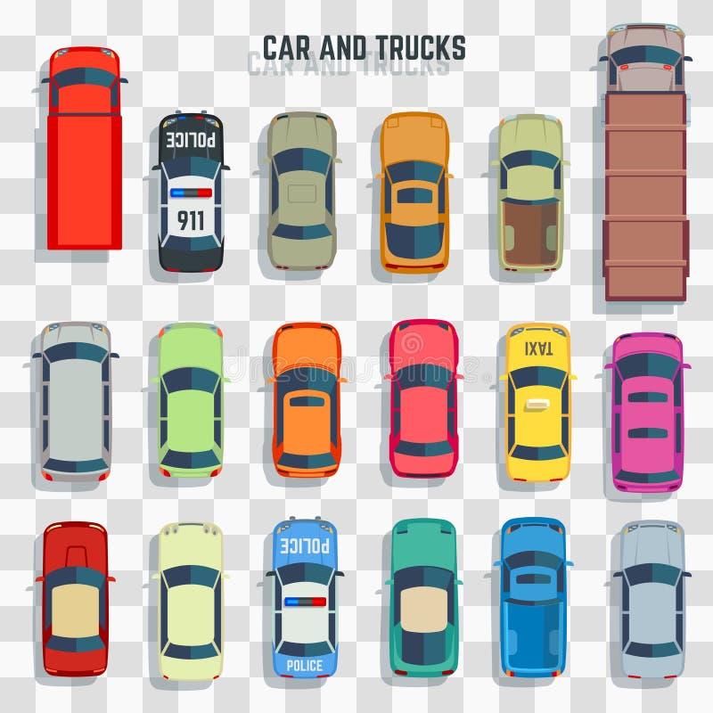Vue supérieure de voitures et de camions illustration de vecteur