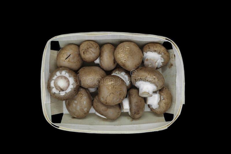 Vue supérieure des champignons bruns de champignons de paris placés dans le panier en bois et d'isolement sur le fond noir photographie stock libre de droits