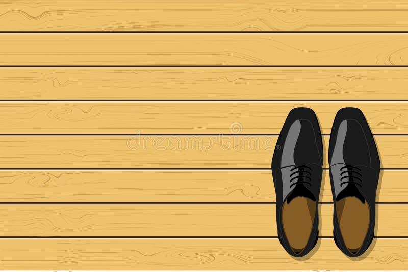 Vue supérieure des chaussures en cuir noires du ` s d'hommes sur le fond en bois, illustration de vecteur illustration stock
