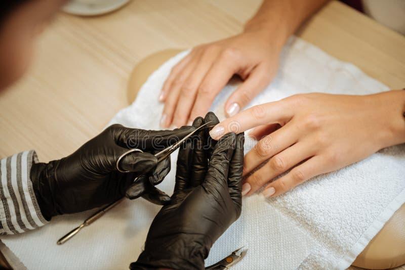 Vue supérieure des ciseaux professionnels de manucure de participation d'artiste d'ongle photo libre de droits