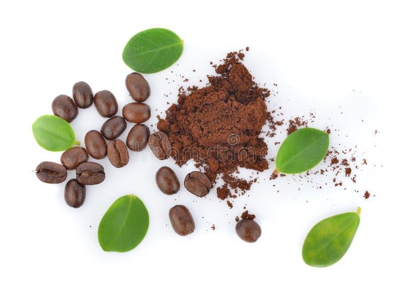 Vue supérieure des grains de café avec la feuille verte sur le fond blanc photos stock