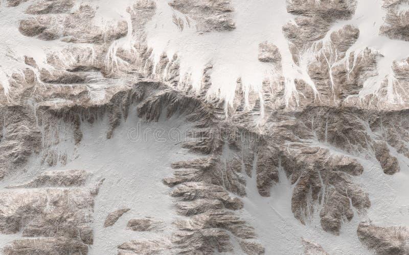 Vue supérieure des montagnes neigeuses illustration de vecteur
