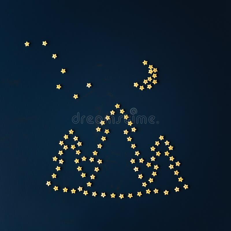 Vue supérieure des pâtes italiennes en forme d'étoile photos libres de droits