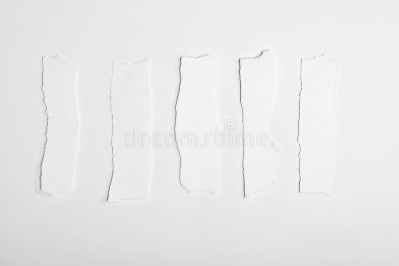 Vue supérieure des papiers de note blancs vides déchirés photo libre de droits